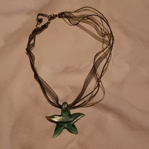 Glass Blown Sea Starfish Short Necklace